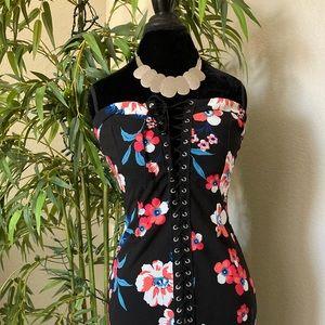 Jacaranda Corset Strapless Floral Bodycon Dress L